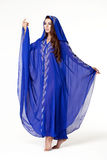 Portrait of the young sexy woman in blue tunic Arabic Royalty Free Stock Photos