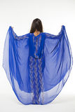 Portrait of the young sexy woman in blue tunic Arabic Royalty Free Stock Image