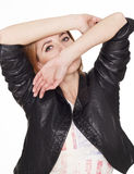 Portrait of young  sexy woman in leather jacket Royalty Free Stock Photo