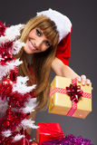 Portrait of young, sexy woman Santa with gift boxes Royalty Free Stock Photo