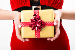 Portrait of young, sexy woman Santa with gift boxes Royalty Free Stock Images