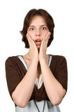 Portrait of a young shocked woman Stock Photo