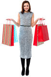 Portrait of a young shopaholic woman Stock Photography