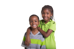 Portrait of 2 young siblings Stock Images