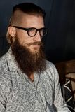 Portrait of young smart bearded man in glasses. Portrait of young bearded man in glasses, looking away with serious expression Royalty Free Stock Photo