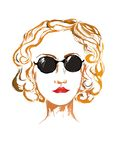 Portrait of young smart woman in sun glasses colorful looking ahead Royalty Free Stock Photo