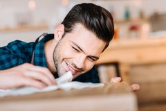 Barista cleaning counter Royalty Free Stock Photography