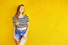 Portrait of young smiling beautiful woman Stock Images
