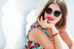 Portrait Of Young Smiling Beautiful Woman Royalty Free Stock Images