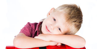 Portrait of young smiling boy isolated on white Stock Photos