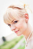Portrait of young smiling bride Stock Image