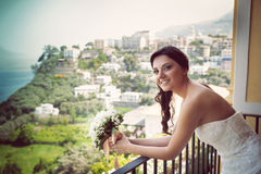 Portrait of a young smiling bride Stock Photography