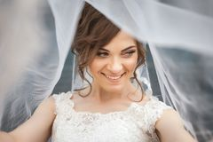 Portrait of young smiling bride with veil over her face. Portrait of beautiful, young smiling bride with white veil over her face. Concept of young gorgeous Royalty Free Stock Image