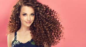 Portrait of young, smiling brown haired woman with voluminous and curly hairstyle. royalty free stock images