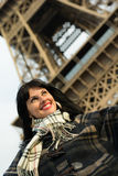 Portrait of young smiling brunette on vacation in Paris France Royalty Free Stock Photos
