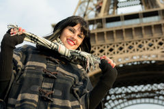 Portrait of young smiling brunette on vacation in Paris France Stock Image