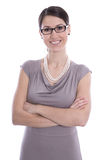 Portrait of a young smiling business woman with folded arms  iso Royalty Free Stock Photos