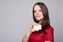Portrait of young smiling business woman holding Stock Photography