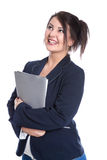 Portrait of young smiling business woman holding documents. Stock Image