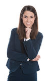 Portrait of a young smiling business woman isolated on white Royalty Free Stock Image
