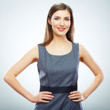 Portrait of young smiling business woman white background isola Royalty Free Stock Photography