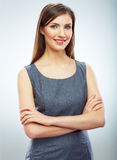 Portrait of young smiling business woman white background isola Royalty Free Stock Image