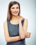 Portrait of young smiling business woman white bac Stock Photos