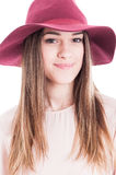Portrait of young smiling charming woman in trendy outfit Royalty Free Stock Photography