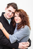 Portrait of young smiling couple in embrace each other. Portrait of a young smiling couple in embrace each other Royalty Free Stock Image