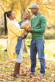 Portrait of a young smiling family holding leaves Stock Images