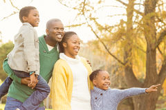 Portrait of a young smiling family pointing something Royalty Free Stock Photos