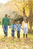 Portrait of a young smiling family walking. On an autumns day royalty free stock photo