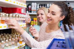 Portrait of young smiling female customers Stock Images