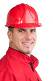 Portrait of young smiling fireman Royalty Free Stock Photos