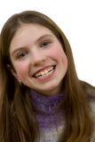 Portrait of the young smiling girl. On a white background royalty free stock photo