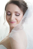 Portrait of young smiling happy bride looking down Royalty Free Stock Image