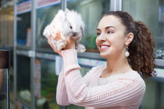 Portrait of young smiling happy woman holding fluffy animal Royalty Free Stock Image