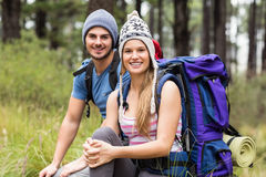Portrait of a young smiling hiker couple Stock Photography