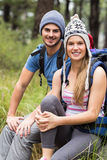 Portrait of a young smiling hiker couple Royalty Free Stock Photo