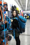 Choosing new knapsack shanghai decathlon shop Royalty Free Stock Images