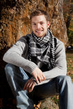 Portrait of a young smiling man outdoor Royalty Free Stock Photo