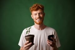 Portrait of young smiling redhead bearded young man, holding spotted plant and mobile phone stock photos
