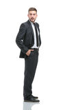 Portrait of the young  smiling turned businessman isolated on a Royalty Free Stock Photo