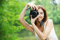 Portrait of young smiling woman Royalty Free Stock Photos