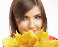 Portrait of young smiling woman, autumn leaves. Stock Photography