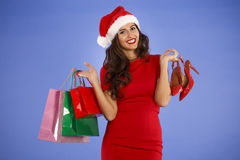 Portrait of a young smiling woman doing shopping before christma Royalty Free Stock Photos