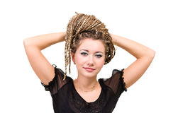 Portrait of young smiling woman with  dreadlocks. Stock Photos