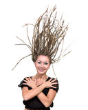 Portrait of young smiling woman with flying hair dreadlocks. Royalty Free Stock Image