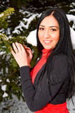 Portrait of young smiling woman in forest royalty free stock photos