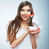 Portrait of young smiling woman hold white paper s Royalty Free Stock Photography